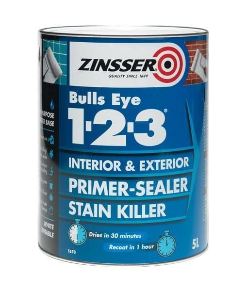 Zinsser bulls eye 123 primer sealer stain killer for Exterior wood water based primer